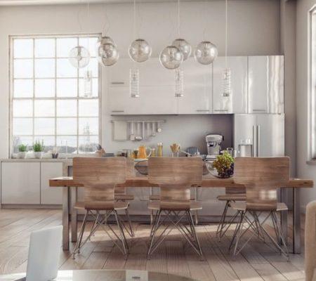 Modern Loft Interior scene - Living room with kitchen.